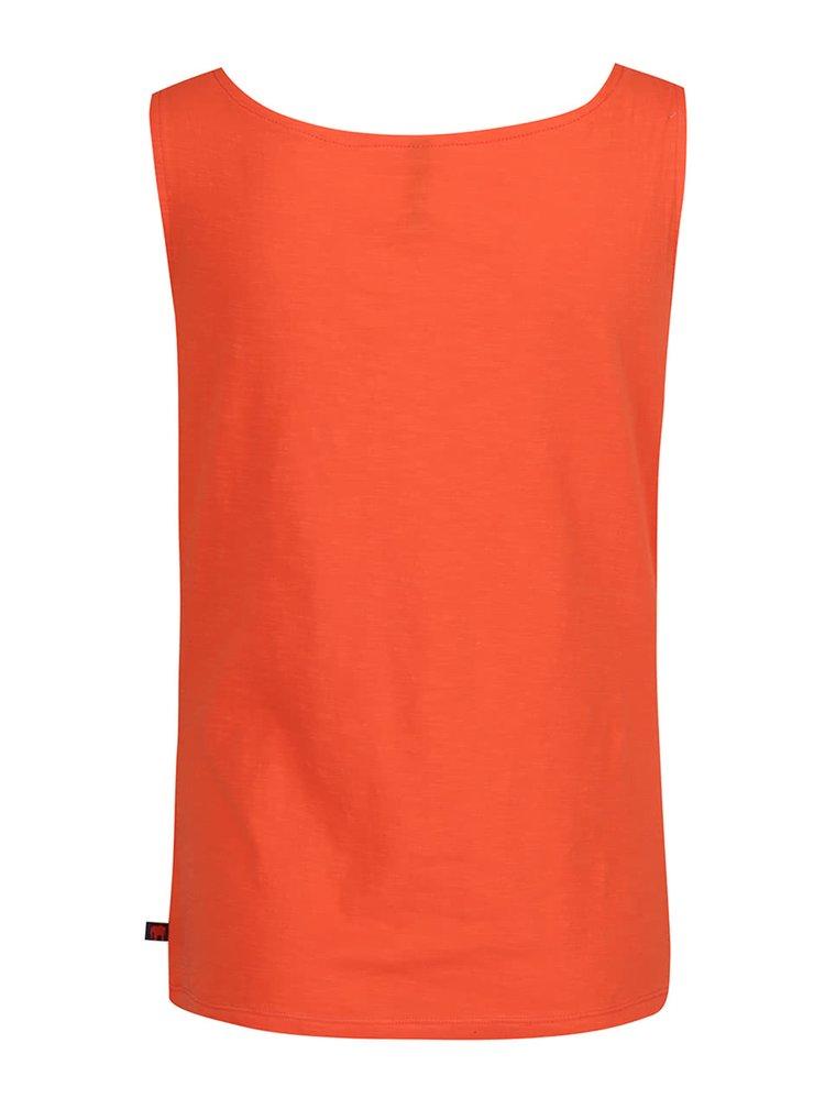 Top portocaliu Tranquillo Helga din bumbac organic cu decolteu drapat