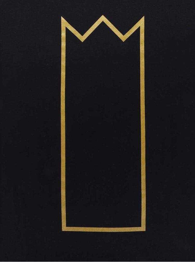 Černé unisex tričko s potiskem ve zlaté barvě Primeros Kingsize