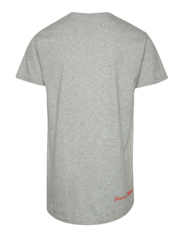 Šedé unisex tričko s červeným potiskem Primeros Performax