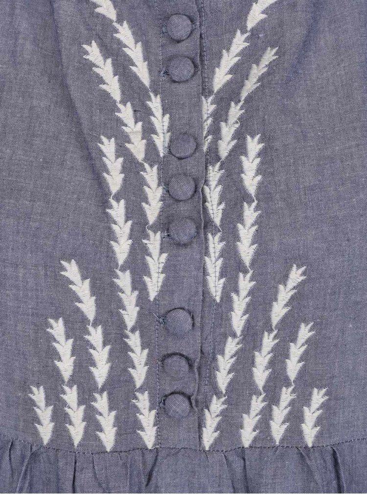 Rochie albastru melanj Tranquillo Loa din bumbac cu guler tunica si detalii