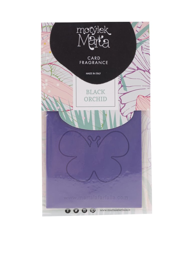 Fialová vonná karta do bytu Motýlek Marta Black Orchid