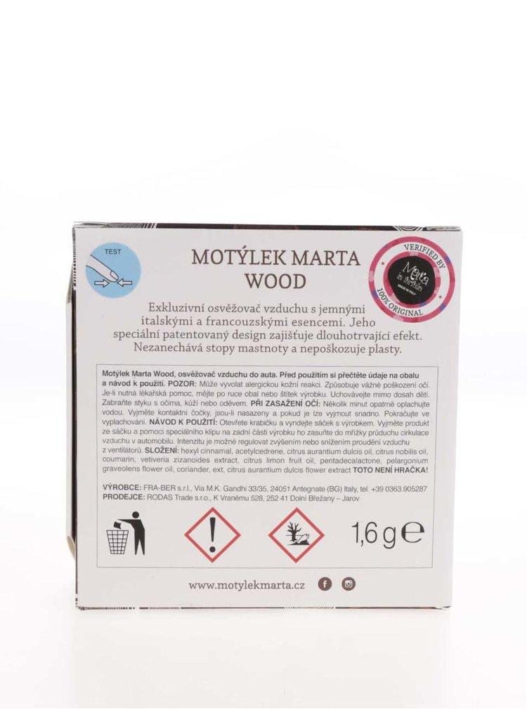 Hnědý vonný motýlek do auta Motýlek Marta Wood