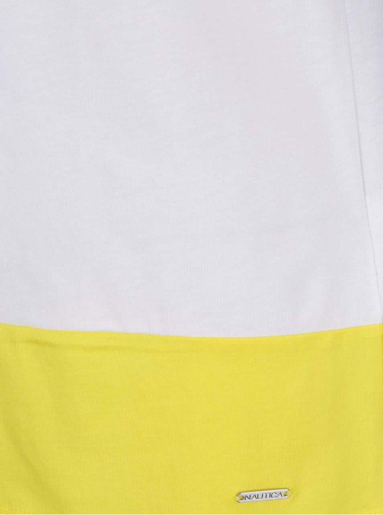 Top alb & albastru inchis & galben Nautica cu croi drept