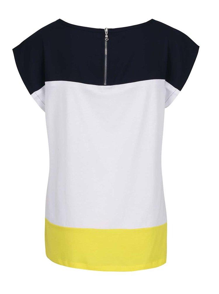 Top alb & albastru închis & galben Nautica cu croi drept