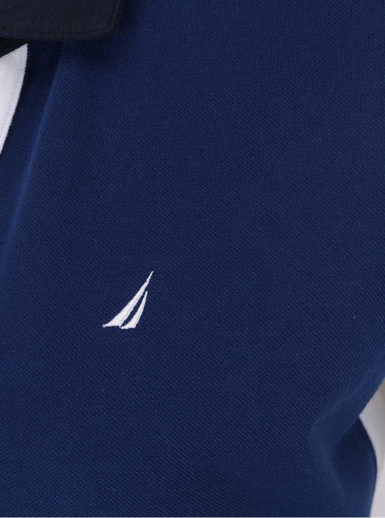 Tricou albastru închis & alb Nautica din bumbac cu logo