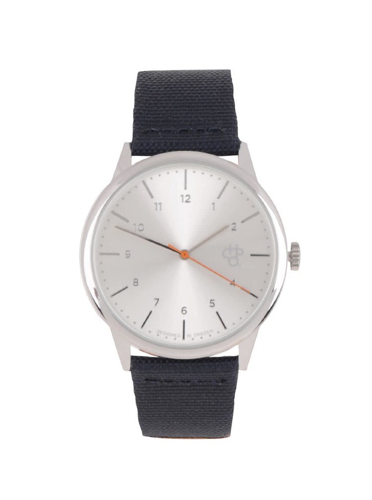 Unisex hodinky v striebornej farbe s remienkom z vegánskej kože CHPO  Rawiya Classic Silver