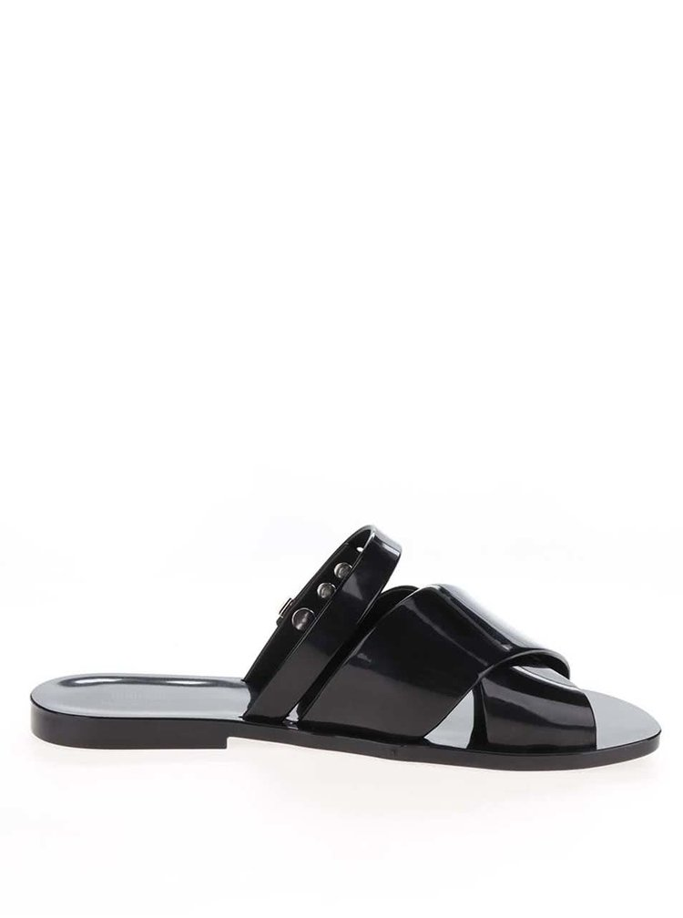 Černé pantofle se sponou Melissa Diane