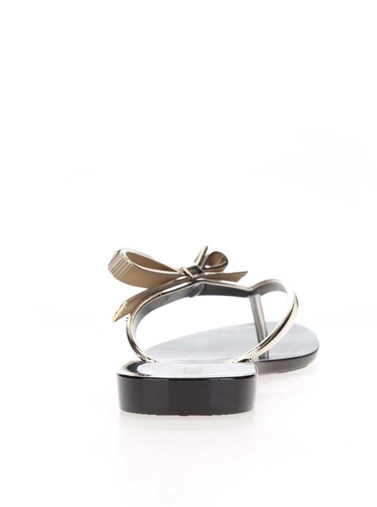 Černé žabky s páskem a mašlí ve zlaté barvě Melissa Harmonic Chrome