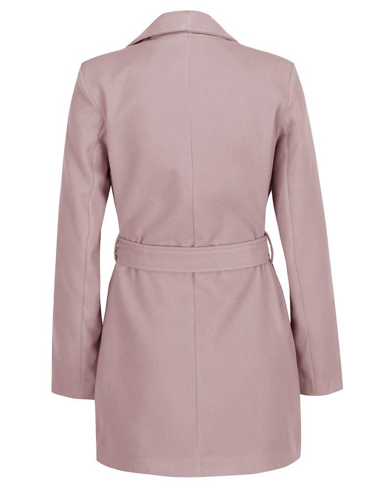 Palton roz ZOOT cu cordon în talie