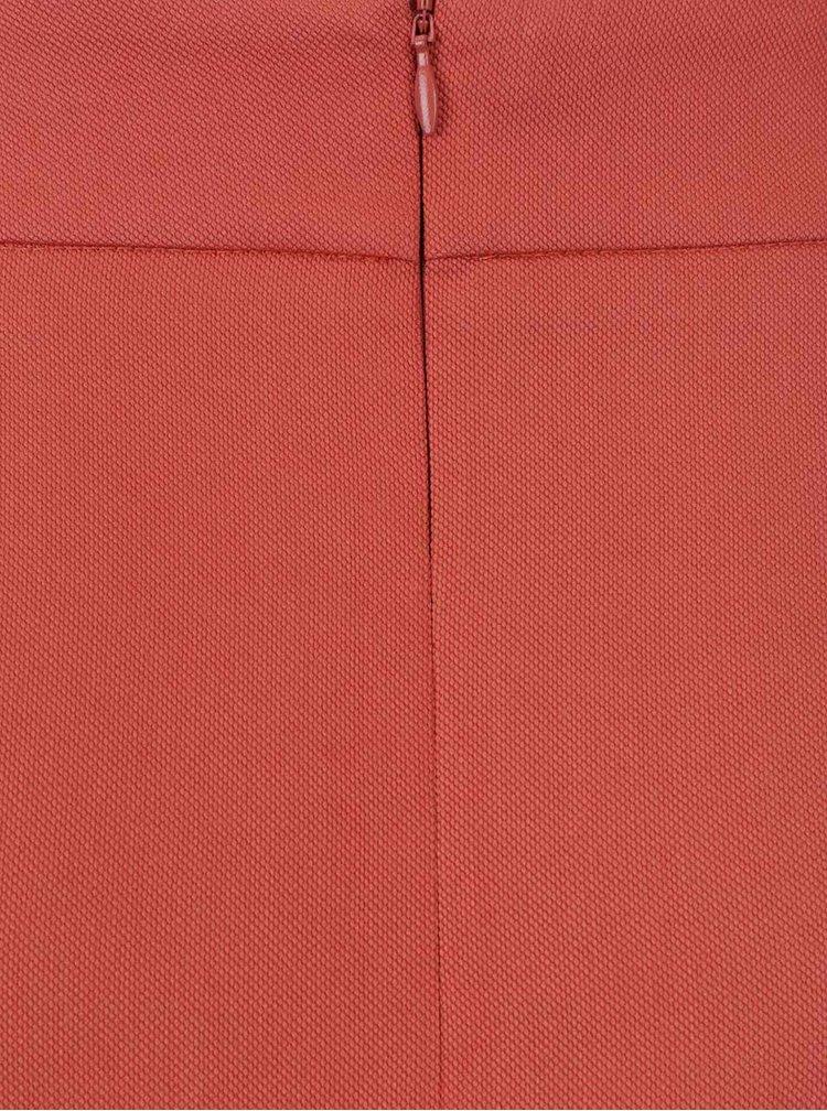 Fustă roșu cărămiziu Pietro Filipi cu pliuri