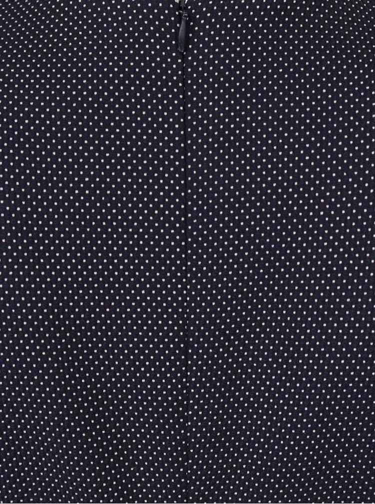 Tmavě modré pouzdrové šaty s puntíky Pietro Filipi