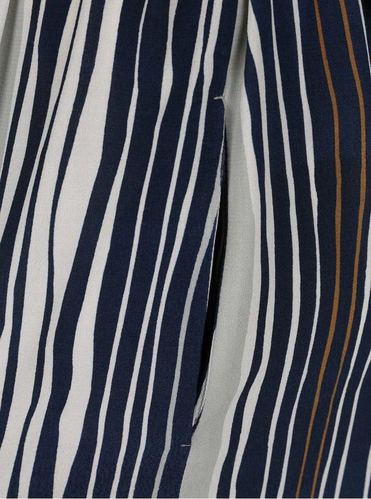 Modro-krémové košilové pruhované šaty s páskem Pietro Filipi