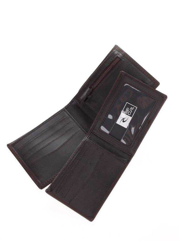 Tmavě hnědá pánská kožená peněženka s logem 2v1 Rip Curl Stackawatu