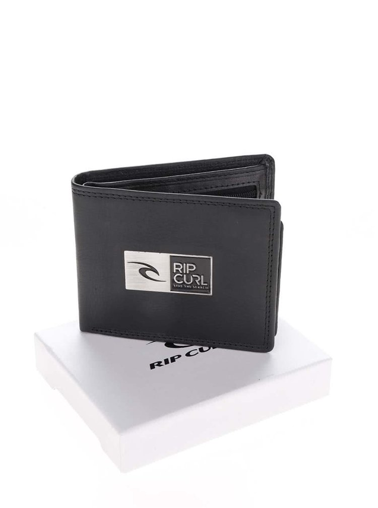 Černá pánská kožená peněženka s logem 2v1 Rip Curl Stackawatu