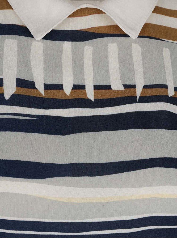 Modro-krémová pruhovaná halenka bez rukávů s límečkem Pietro Filipi