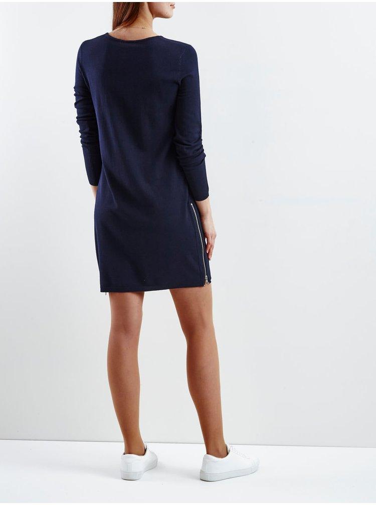 Rochie albastru inchis VILA Letter cu maneci lungi