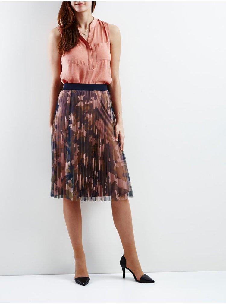 Růžová maskáčová plisovaná sukně VILA Frejs