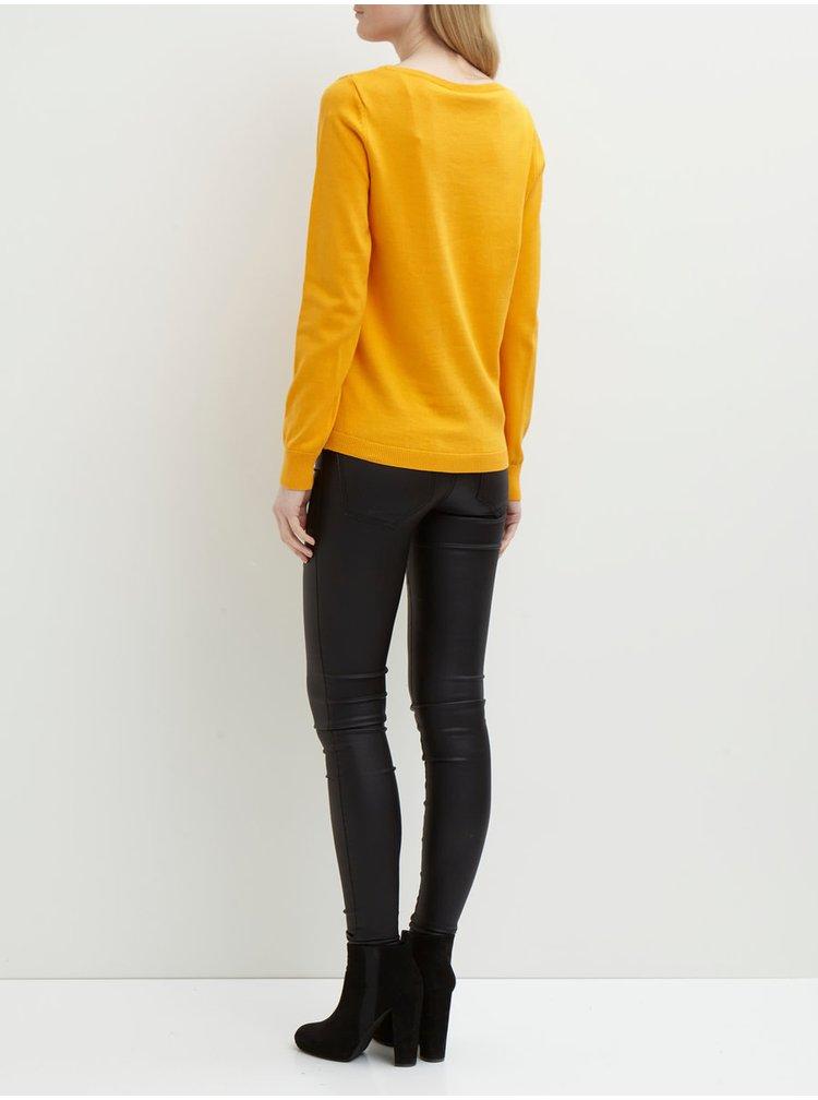 Žlutý žebrovaný svetr VILA Sesse