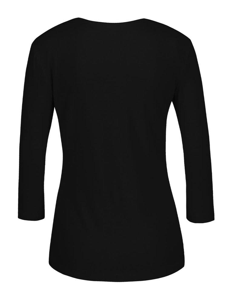 Černé dámské tričko s asymetrickým výstřihem Pietro Filipi