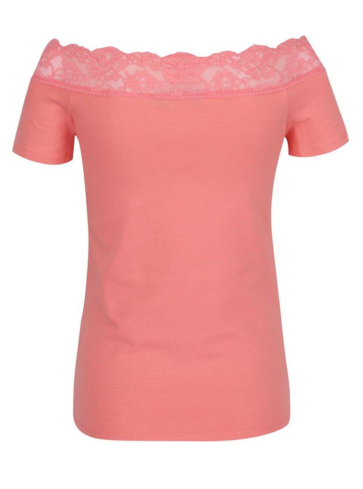Růžové tričko s krajkou Dorothy Perkins