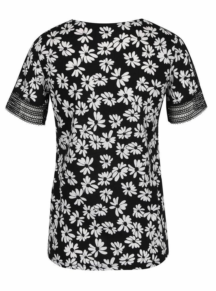 Černé květované tričko s krajkou Dorothy Perkins