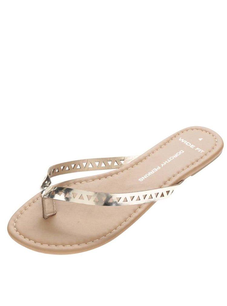 Metalické pantofle v hnědo-zlaté barvě Dorothy Perkins