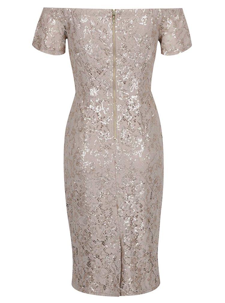 Béžové krajkové šaty s flitry ve zlaté barvě Dorothy Perkins