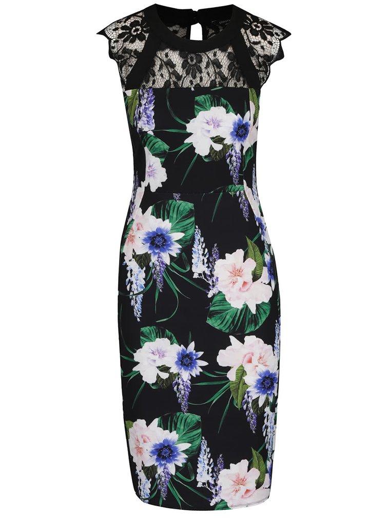 Černé květované šaty s krajkovými detaily Dorothy Perkins