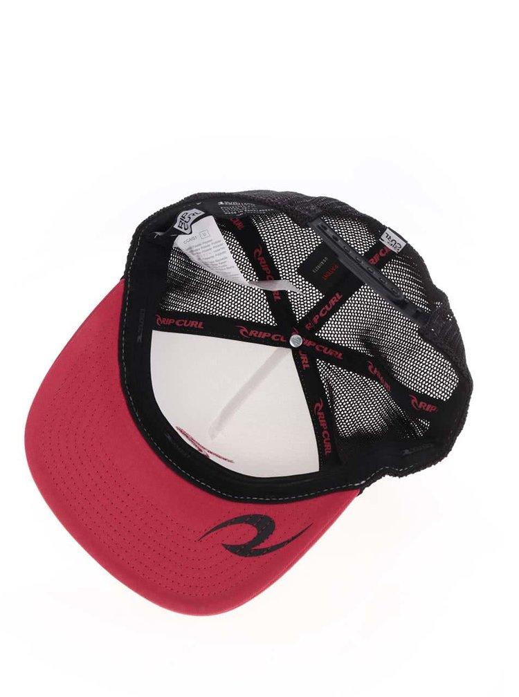 Černo-bílá pánská kšiltovka s červeným kšiltem Rip Curl Rippy Team
