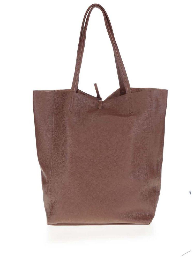 Tmavě hnědý kožený shopper ZOOT Simple