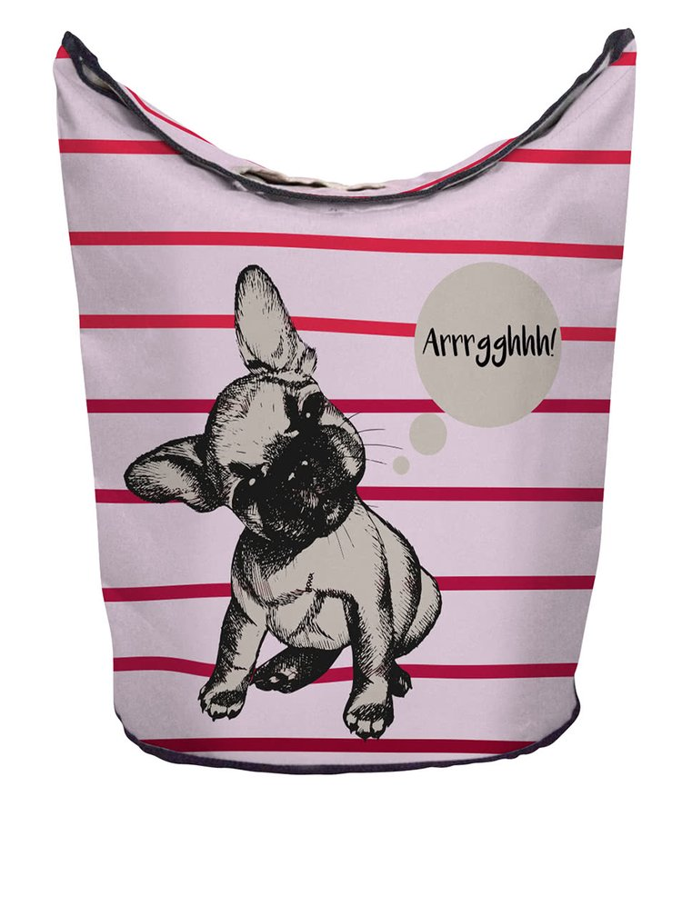 Krémovo-růžový pruhovaný koš na prádlo s potiskem buldočka Butter Kings