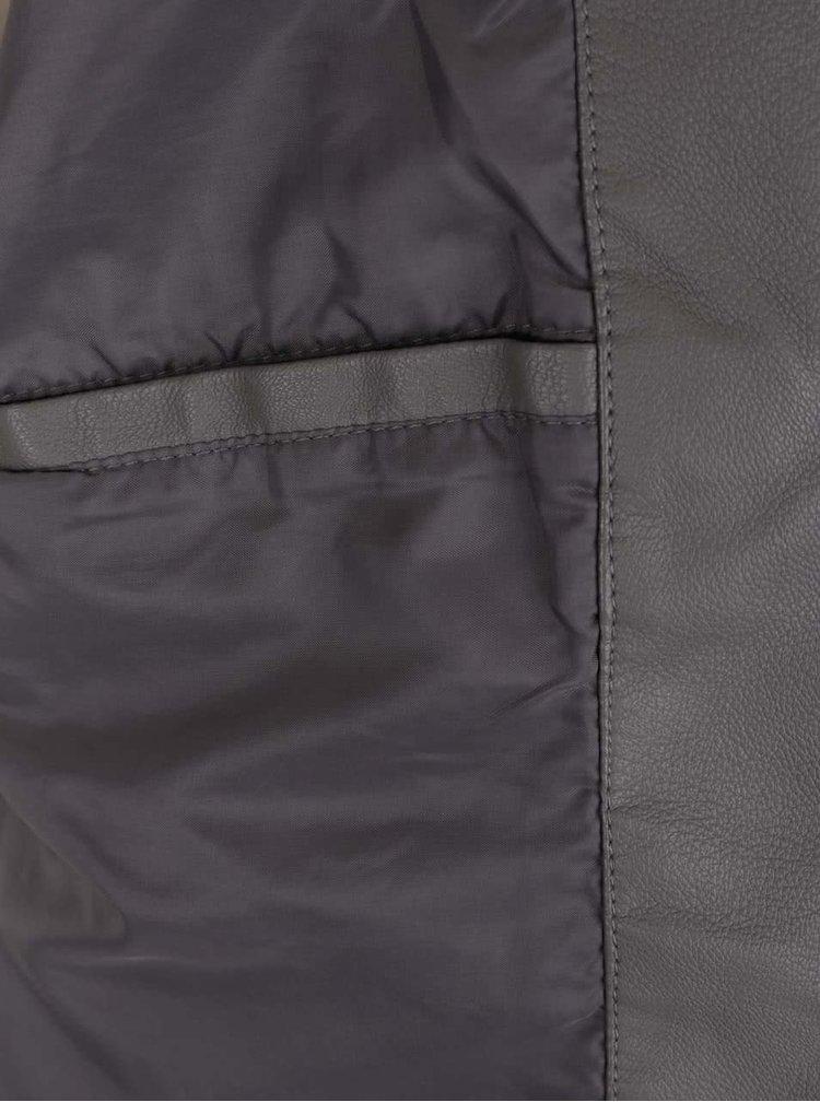 Jachetă gri VILA Popular din piele ecologică