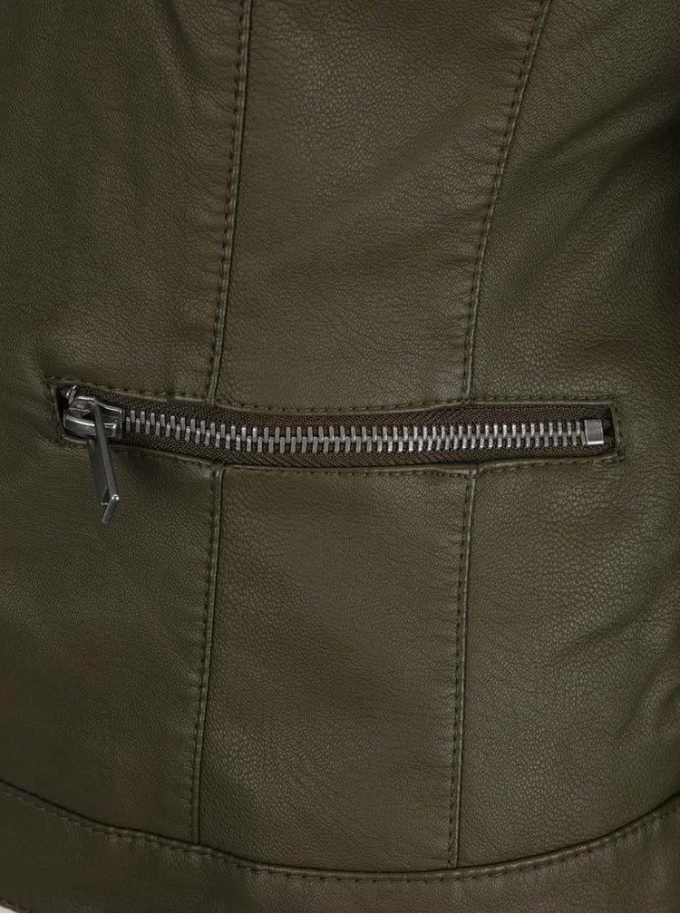 Khaki koženková bunda VILA Popular