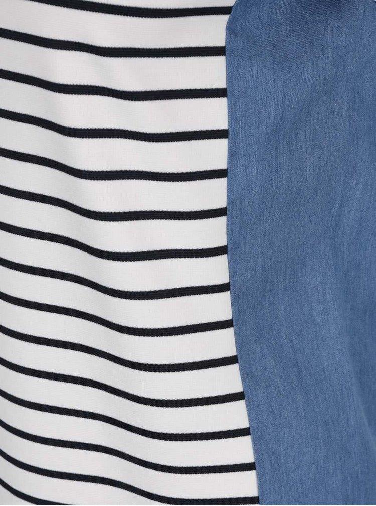 Rochie alb&albastru VILA Denim Panel în dungi