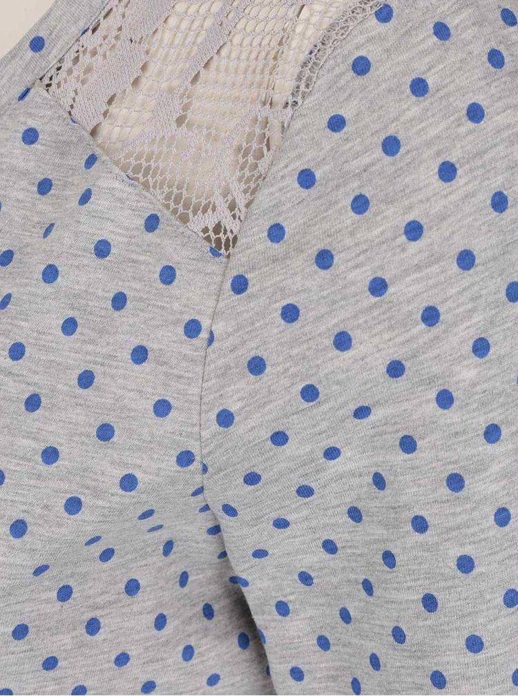 Světle šedé tričko s dlouhým rukávem a modrými puntíky VERO MODA Maggie