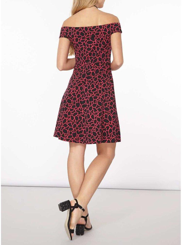 Červeno-černé vzorované šaty s odhalenými rameny Dorothy Perkins
