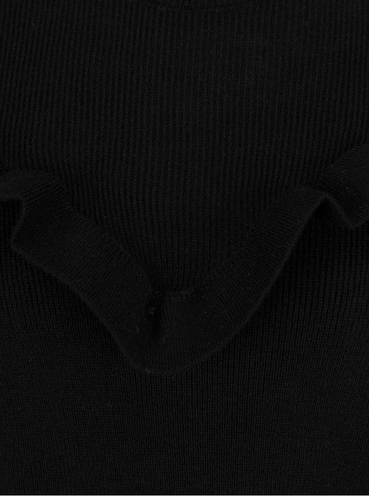 Pulover neagru VILA Helt cu volan decorativ