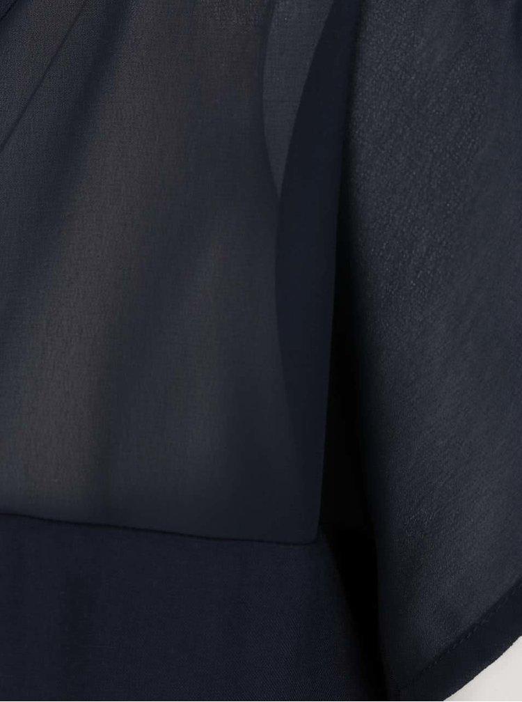 Tmavě modrá volná halenka s průsvitým sedlem VILA Mase