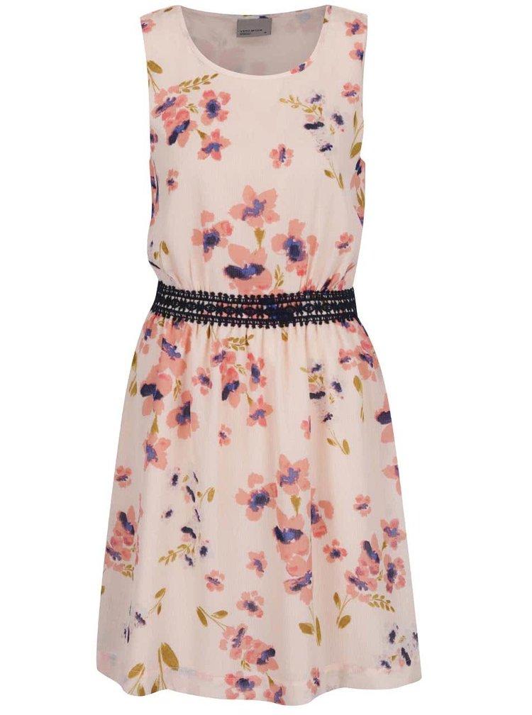 Světle růžové květované šaty VERO MODA Lina