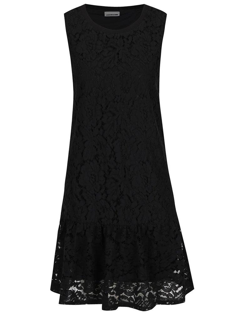 Černé krajkové šaty s volánem Noisy May Katy