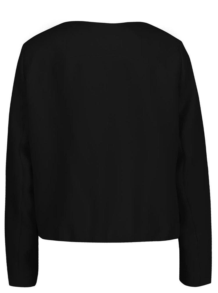 Jachetă subțire neagră VRO MODA Elvira decolteu V