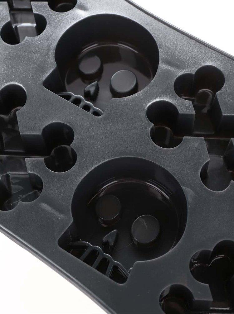 Tmavě šedá silikonová forma na led s motivy lebky FRED