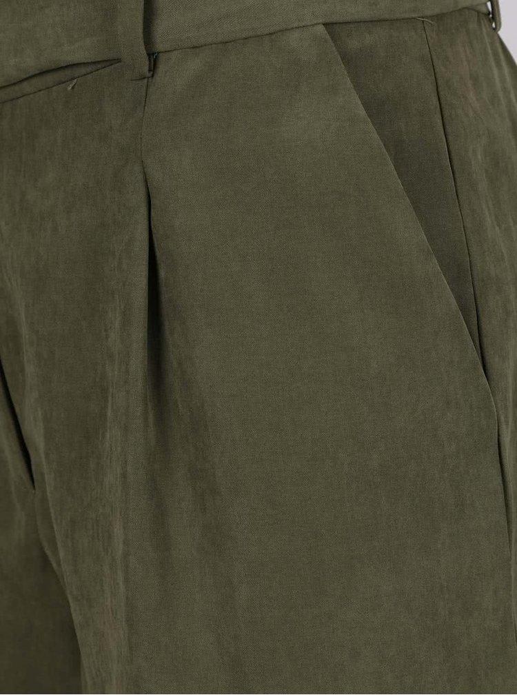 Khaki volné kraťasy s páskem VERO MODA Tensa