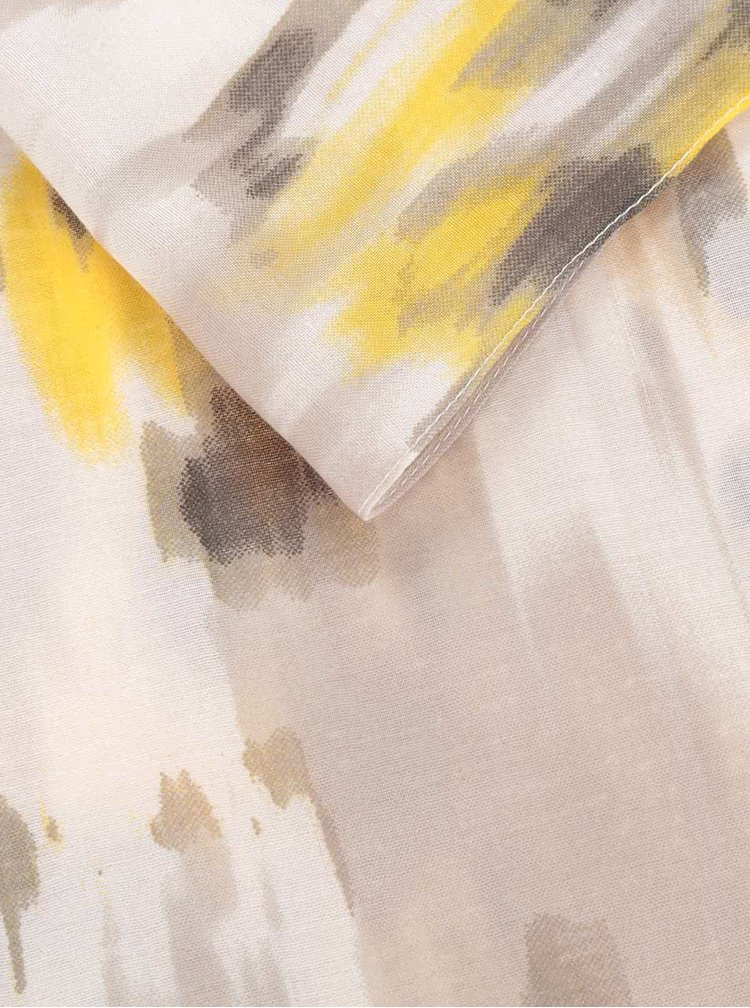 Žluto-béžový vzorovaný dutý šátek Pieces Sukki