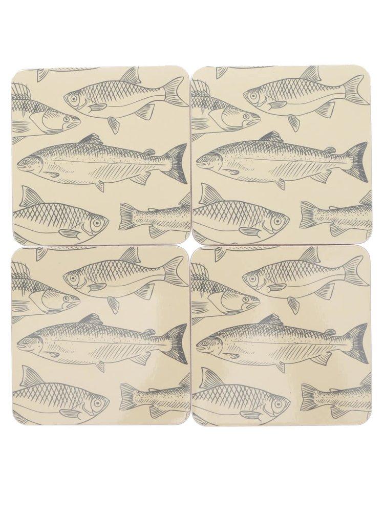 Sada čtyř podtácků v krémové barvě s potiskem ryb Kitchen Craft