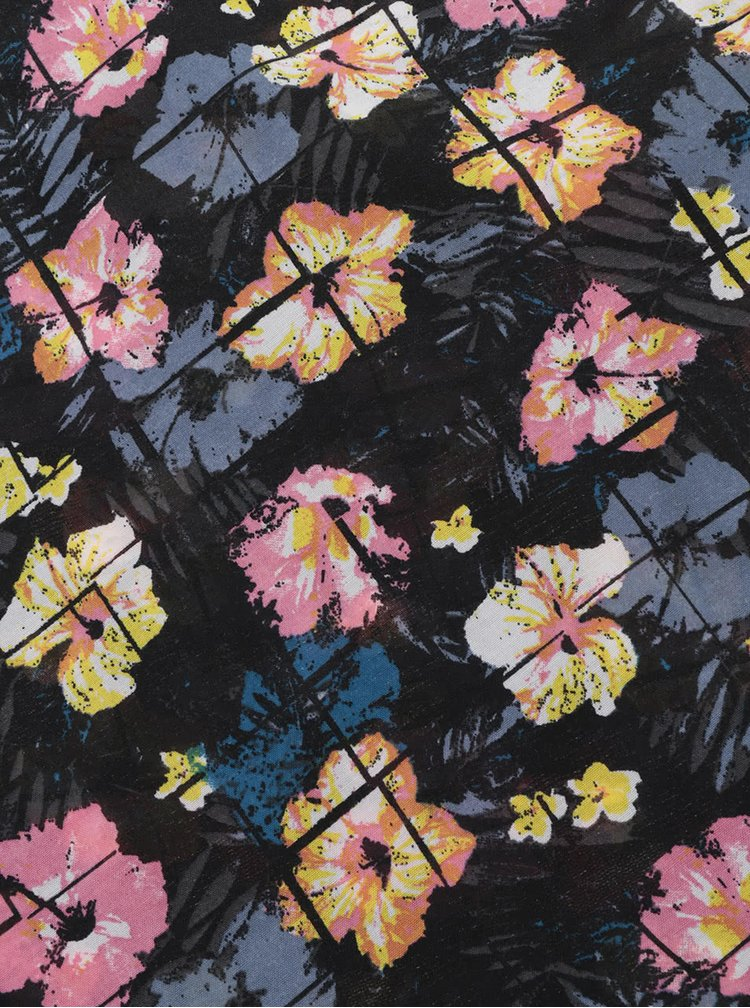 Esarfa bleumarin Pieces Seanna cu imprimeu floral