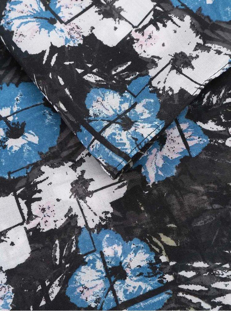 Modro-černý květovaný dutý šátek Pieces Seanna