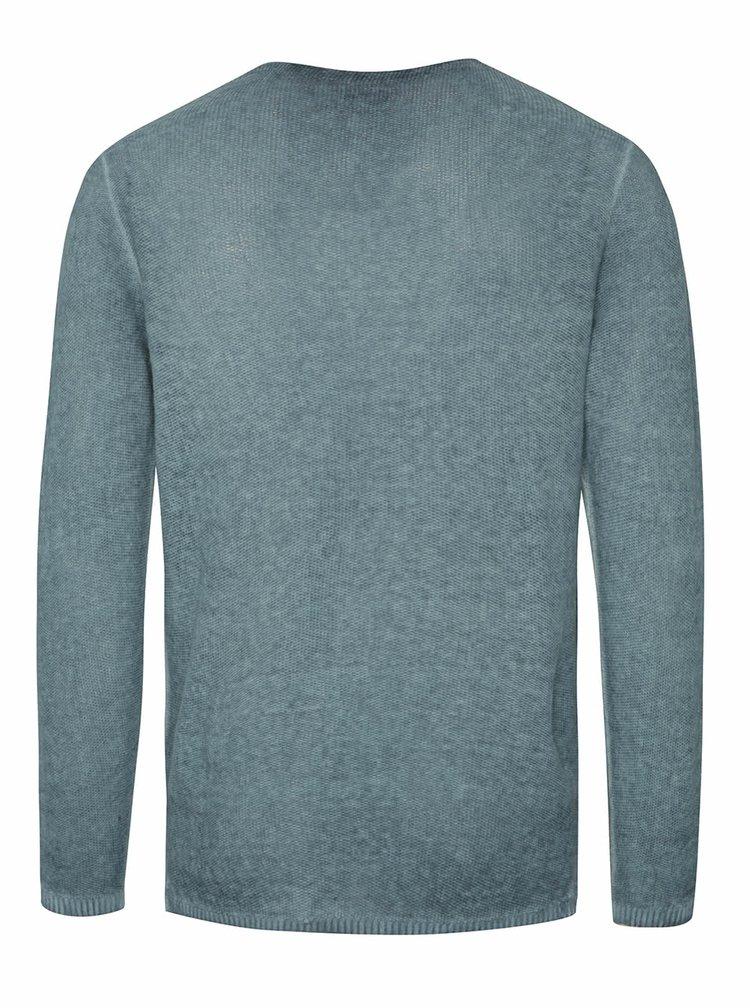 Pulover albastru tricotat Jack & Jones Carlos cu buzunar