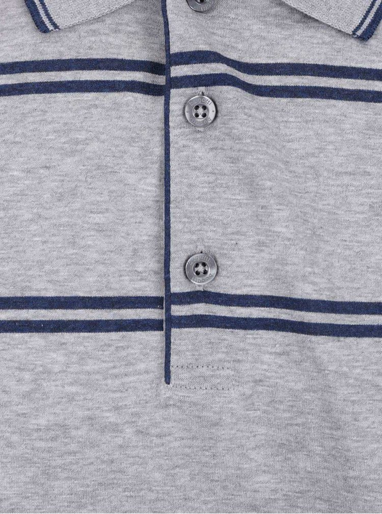 Šedé pánské pruhované polo tričko bugatti