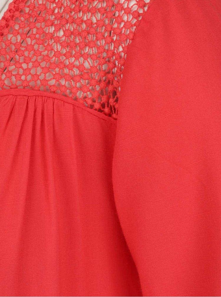 Červený top se vzorovaným dekoltem VERO MODA Lulu